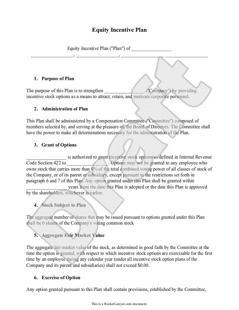 Sample Equity Incentive Plan Form Template
