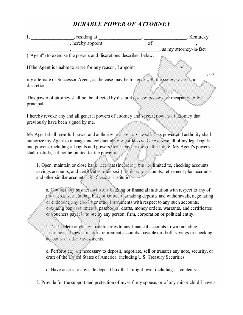 Sample Kentucky Power of Attorney Form Template