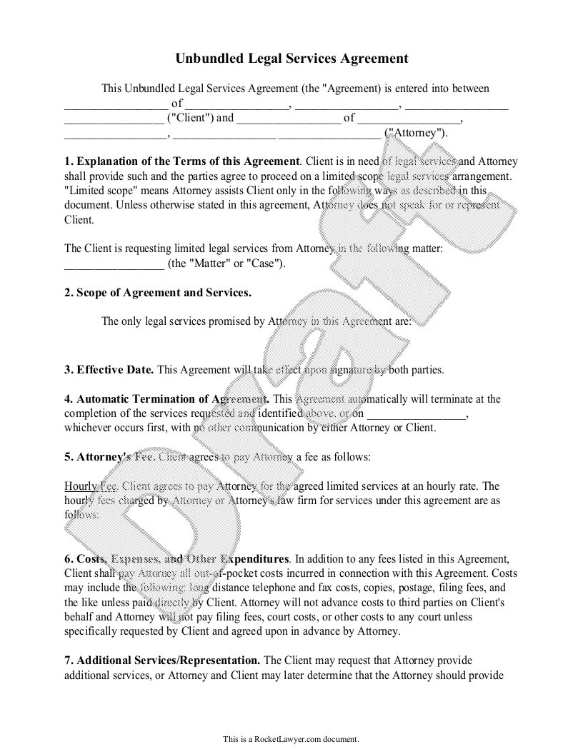 Sample Unbundled Legal Services Agreement Form Template