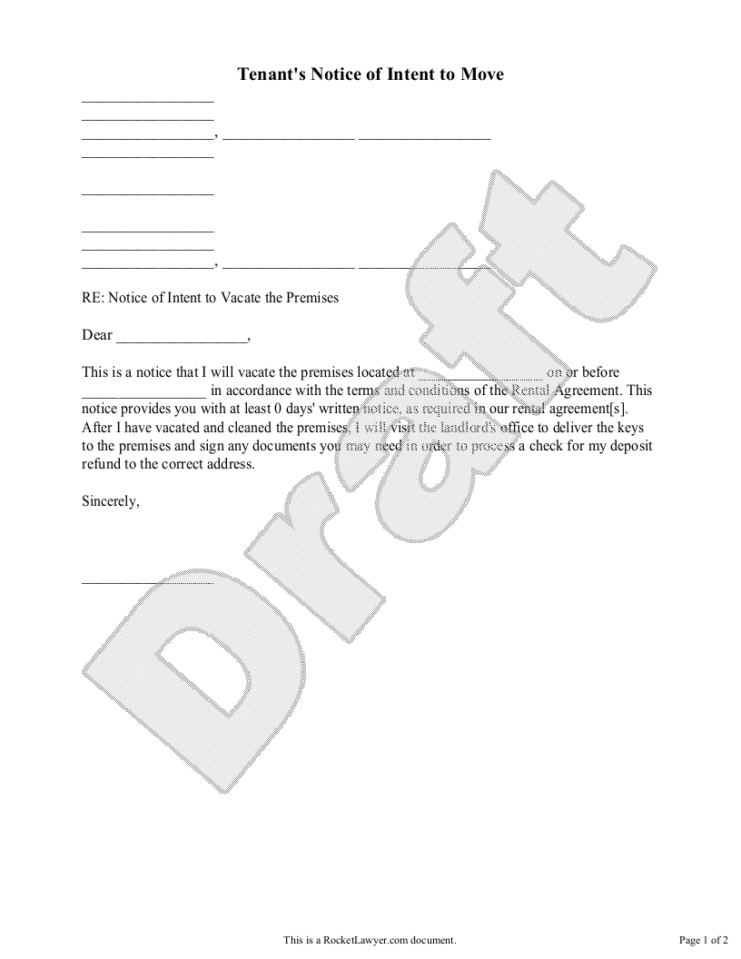 Sample Tenant's Notice of Intent to Move Form Template