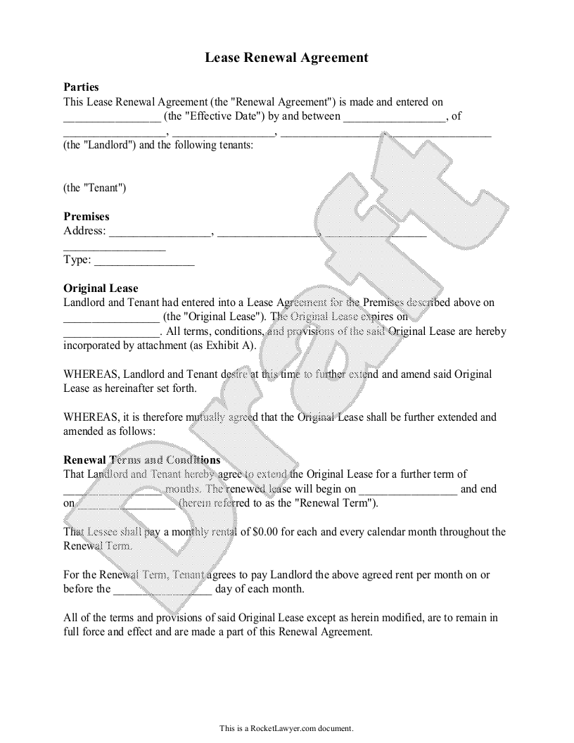 Sample Lease Renewal Agreement