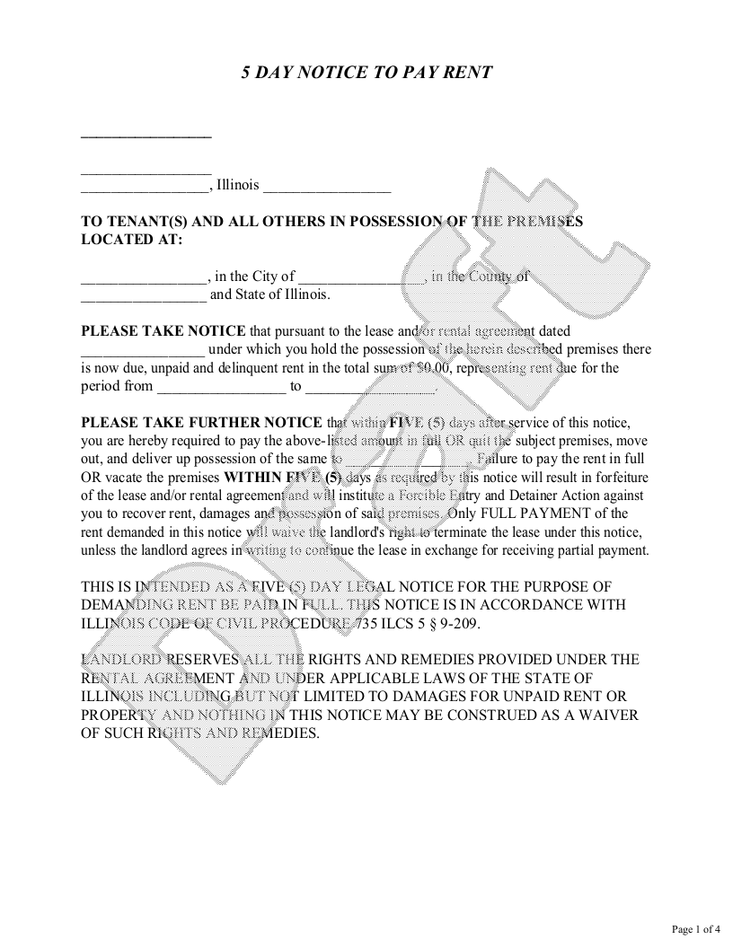 Sample Illinois Eviction Notice Form Template
