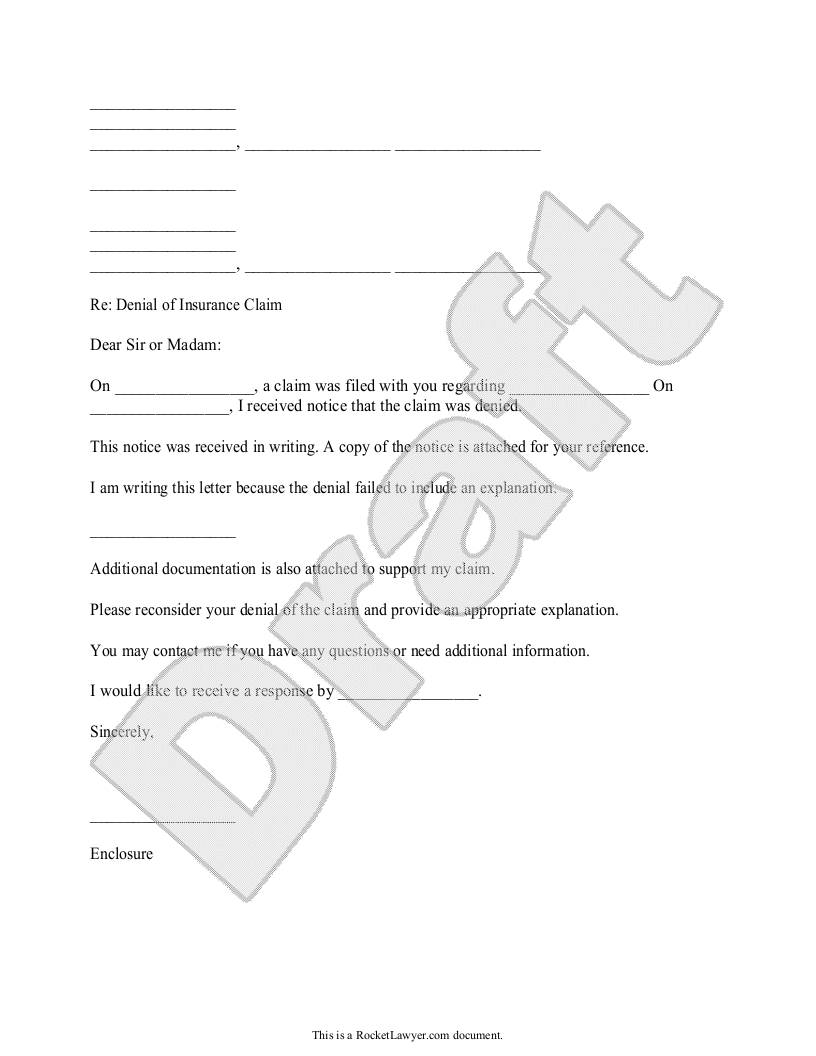 Sample Request for Information about an Insurance Denial Form Template
