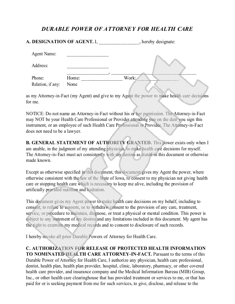 Sample Iowa Healthcare Power of Attorney Form Template