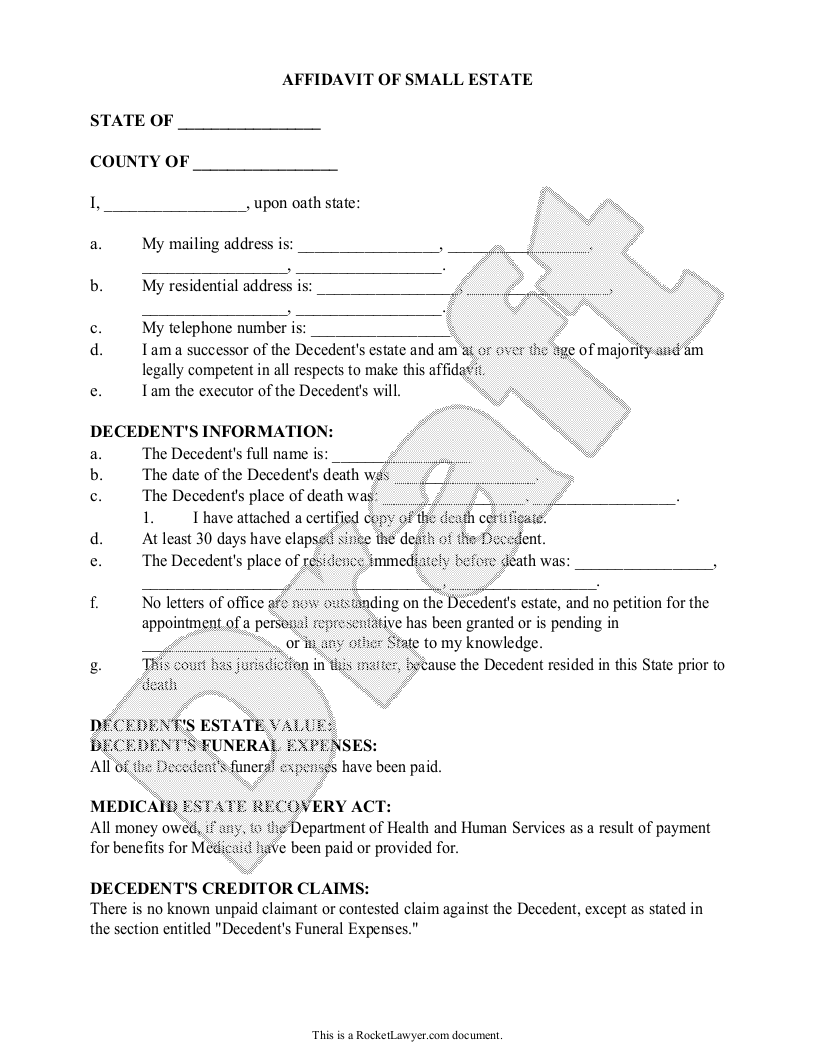 Sample Affidavit of Small Estate Form Template