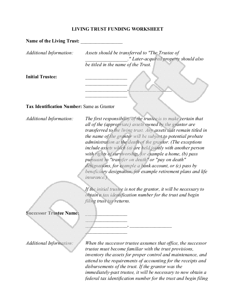 Sample Individual Living Trust Funding Worksheet Form Template