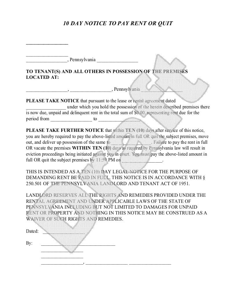 Sample Pennsylvania Eviction Notice Form Template
