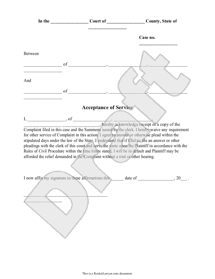 Sample Acceptance of Service Form Template