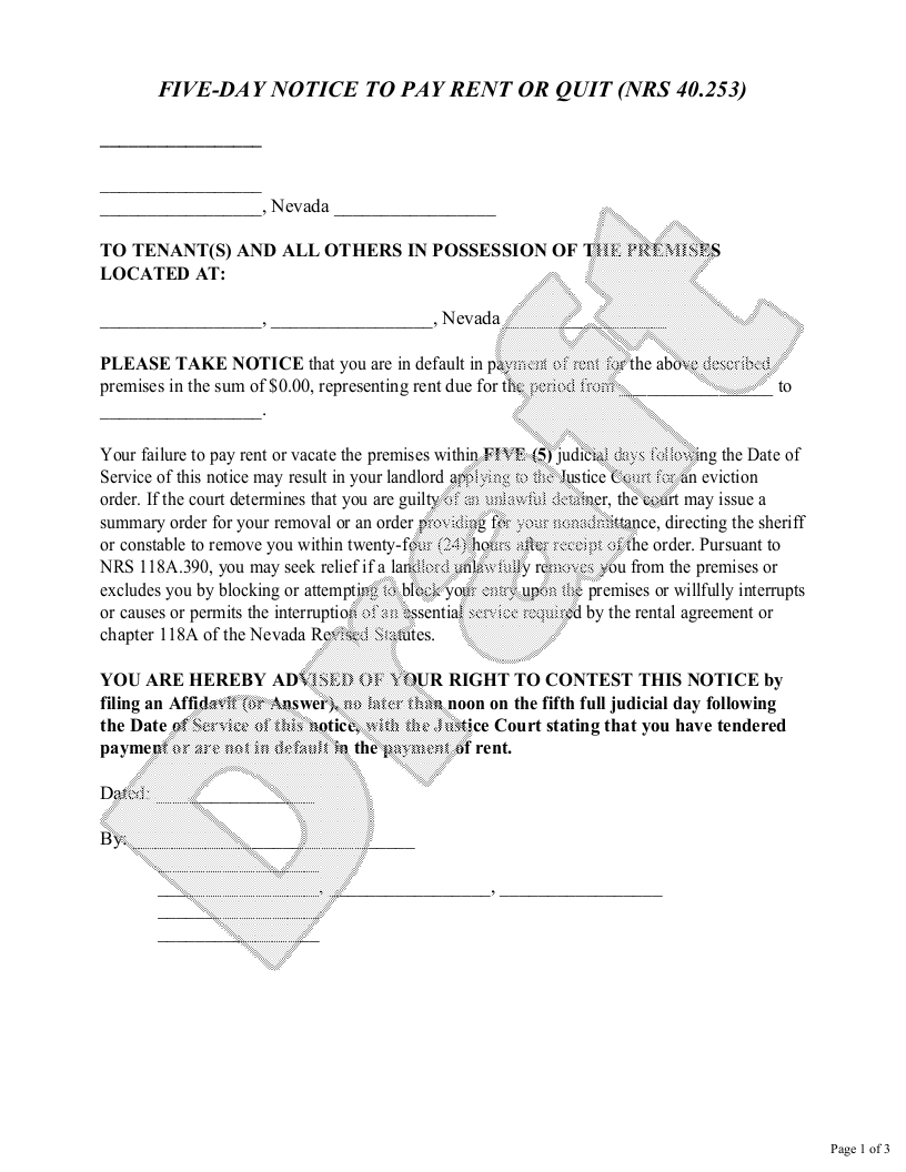 Sample Nevada Eviction Notice Form Template