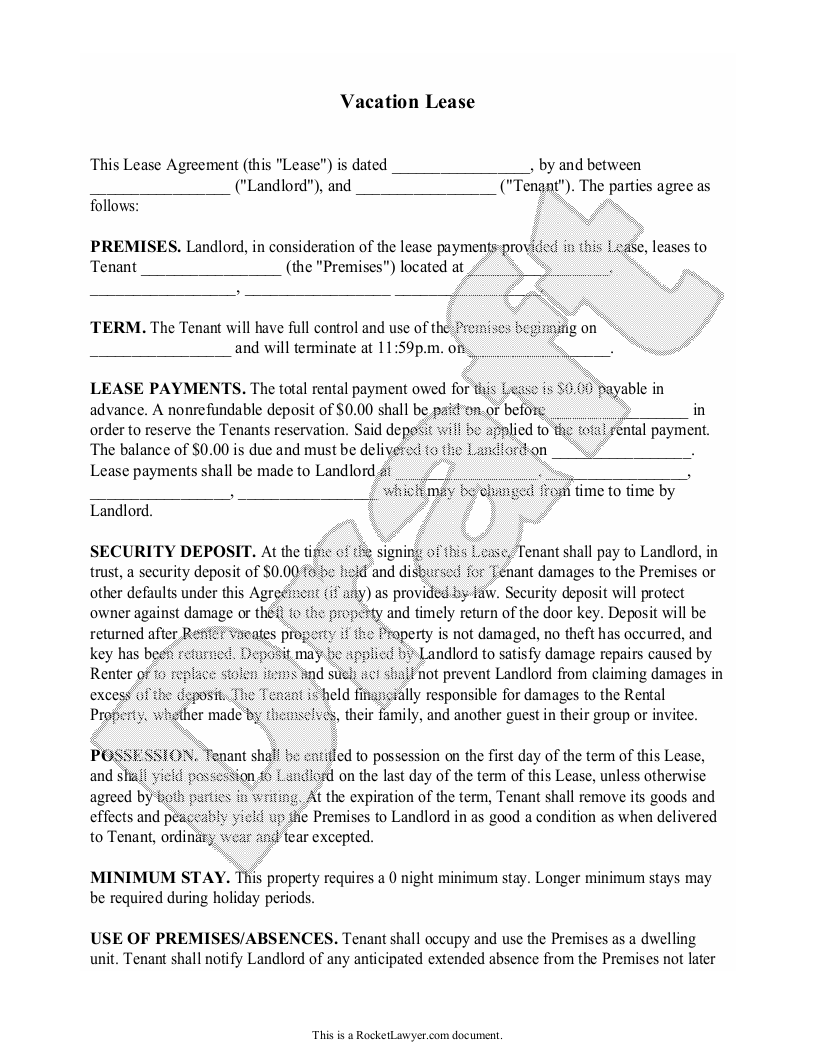 Sample Vacation Lease Form Template