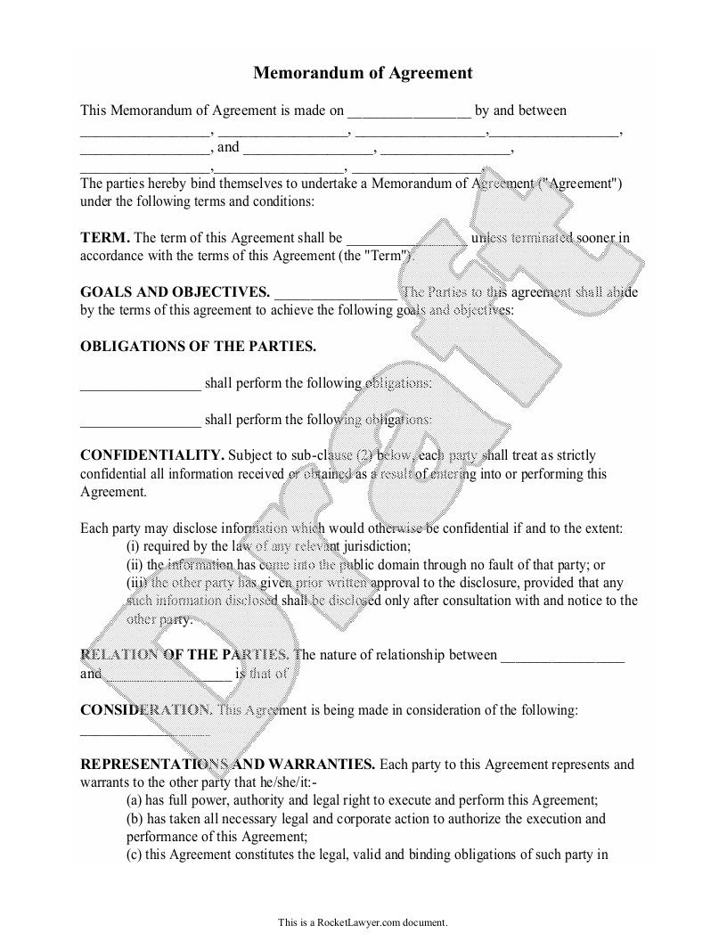 Sample Memorandum of Agreement Form Template