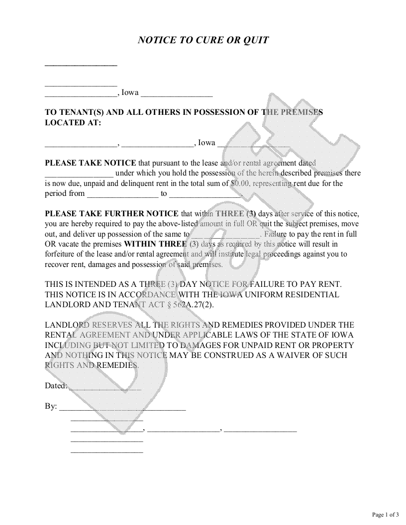 Sample Iowa Eviction Notice Form Template