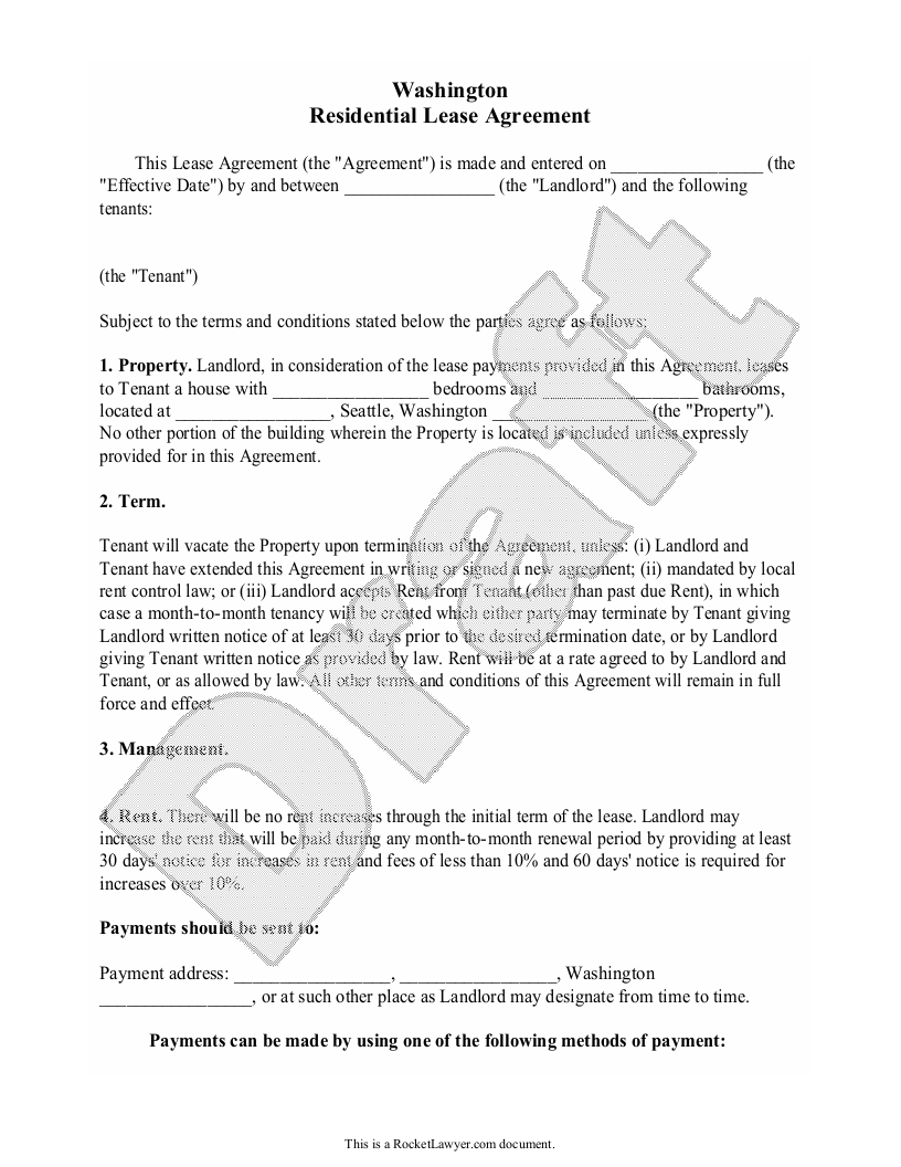 Sample Washington Lease Agreement Form Template