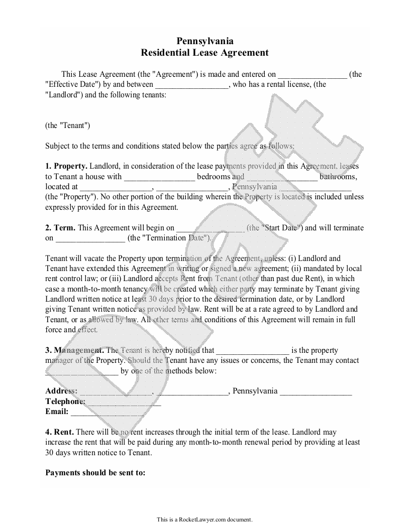 Sample Pennsylvania Lease Agreement Form Template