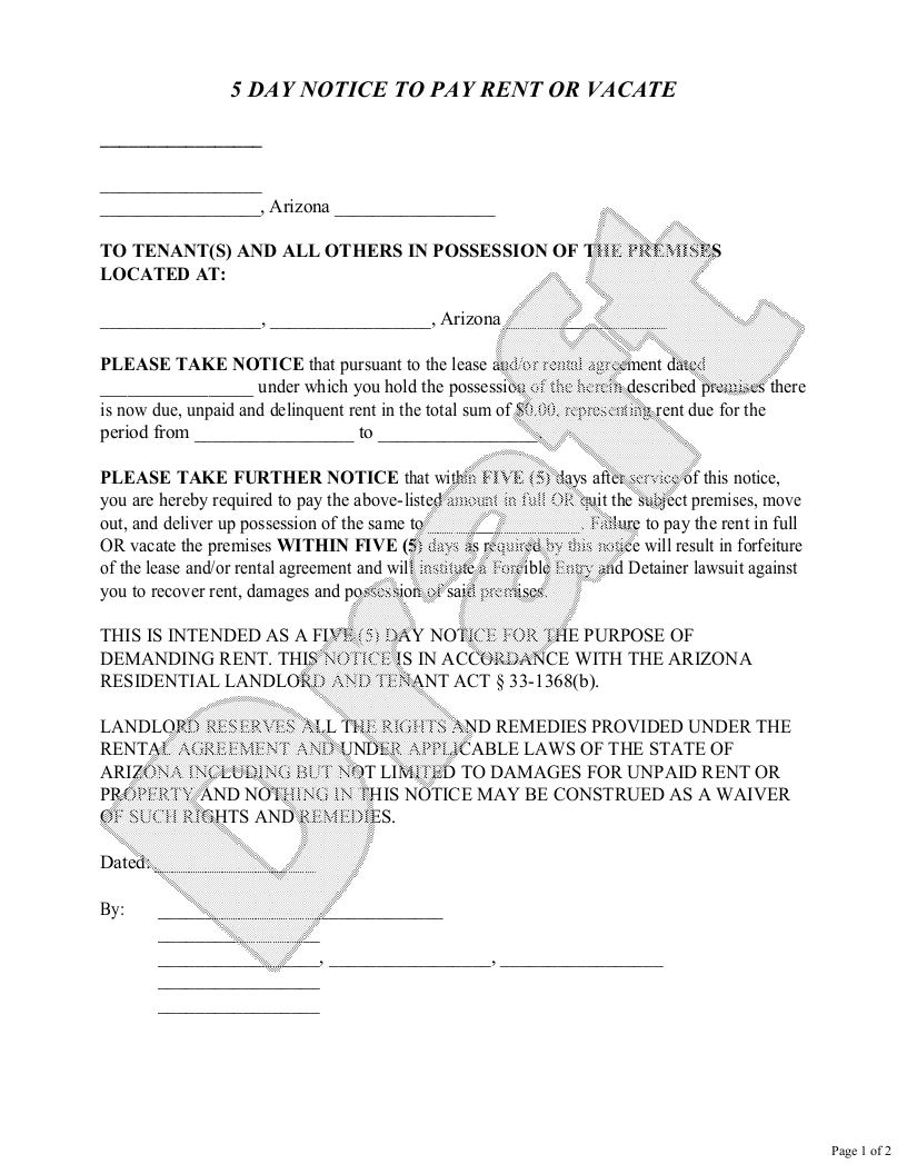 Sample Arizona Eviction Notice Form Template