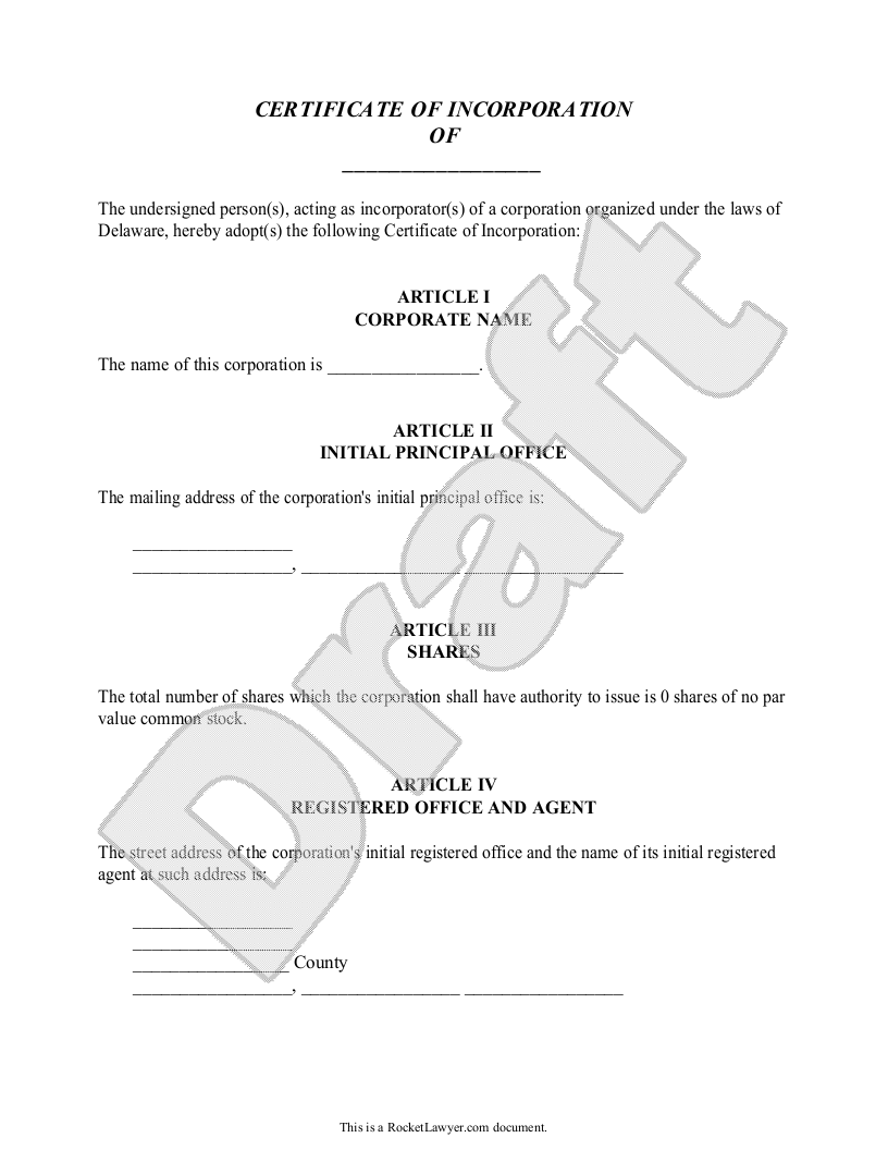 Sample Certificate of Incorporation for Delaware Form Template