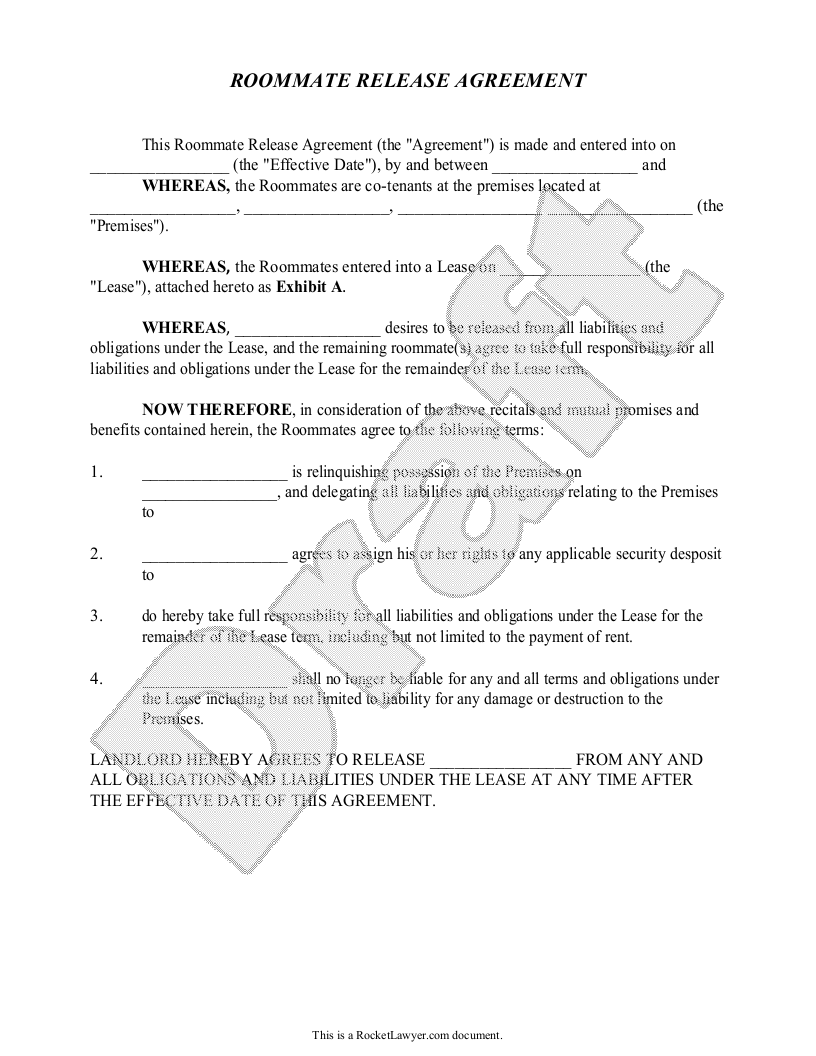 Sample Roommate Release Agreement Form Template