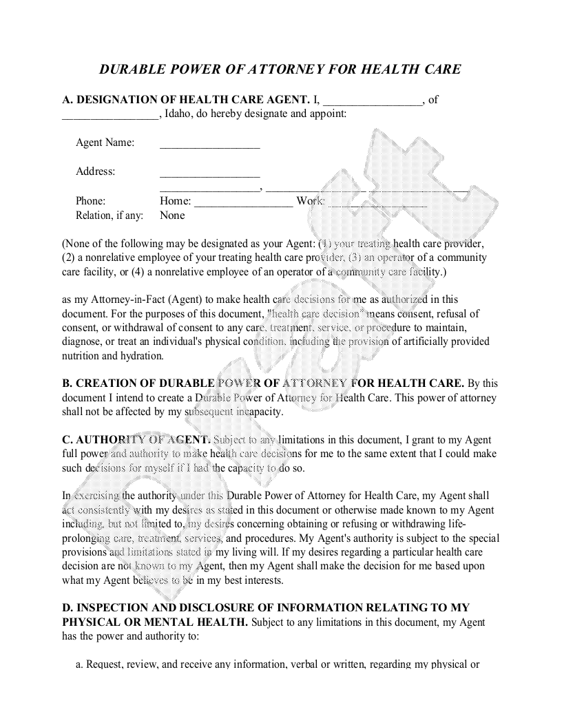 Sample Idaho Healthcare Power of Attorney Form Template