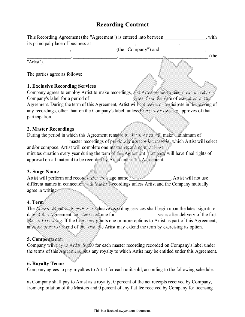 Sample Recording Agreement Form Template