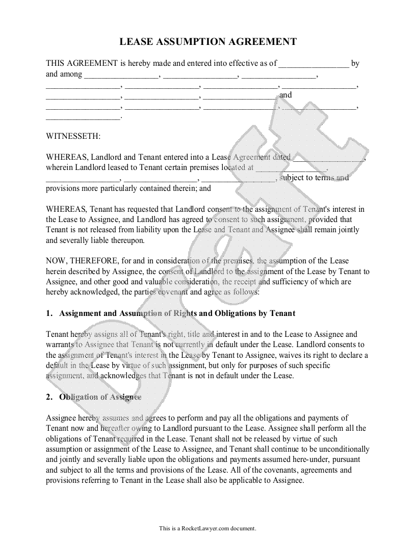 Sample Lease Assumption Agreement Form Template