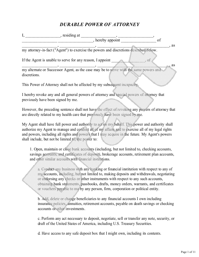 Sample General Power of Attorney Form Template