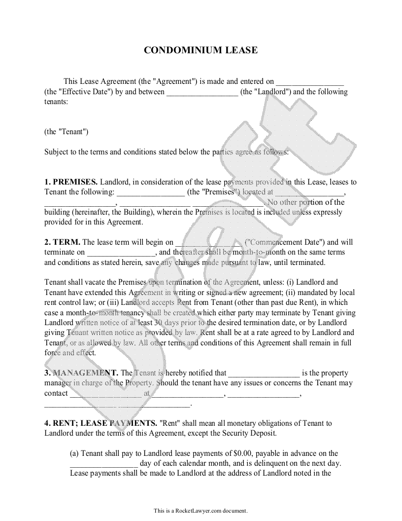Sample Condominium Lease Form Template