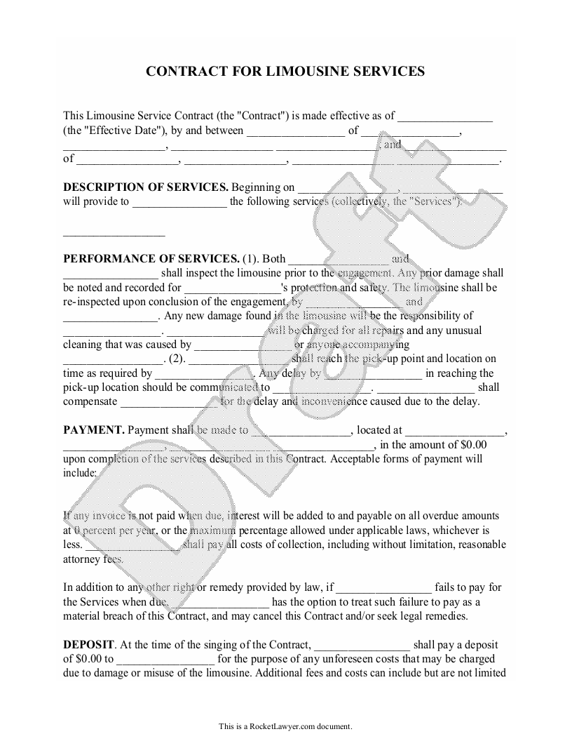 Sample Limousine Service Contract Form Template