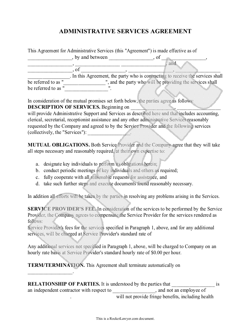 Sample Administrative Services Contract Form Template