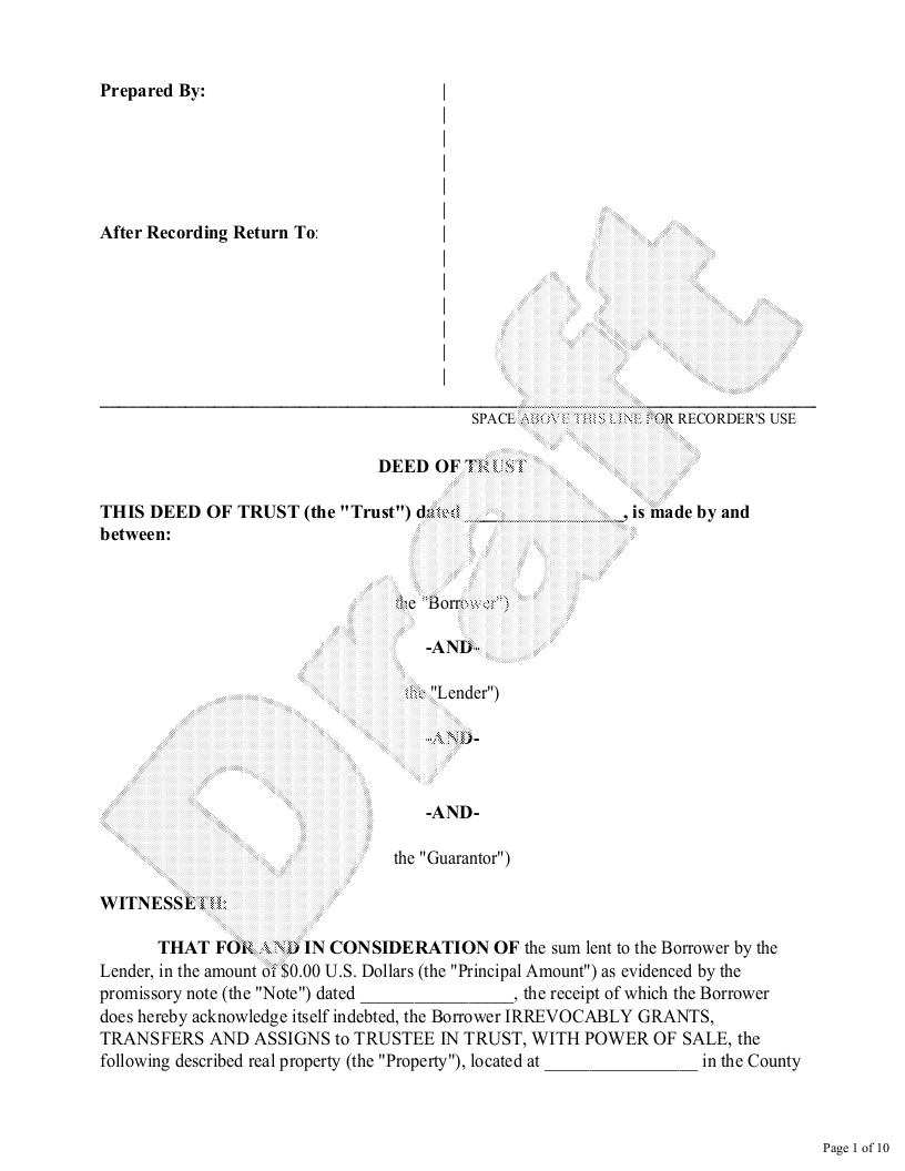 Sample Deed of Trust Form Template