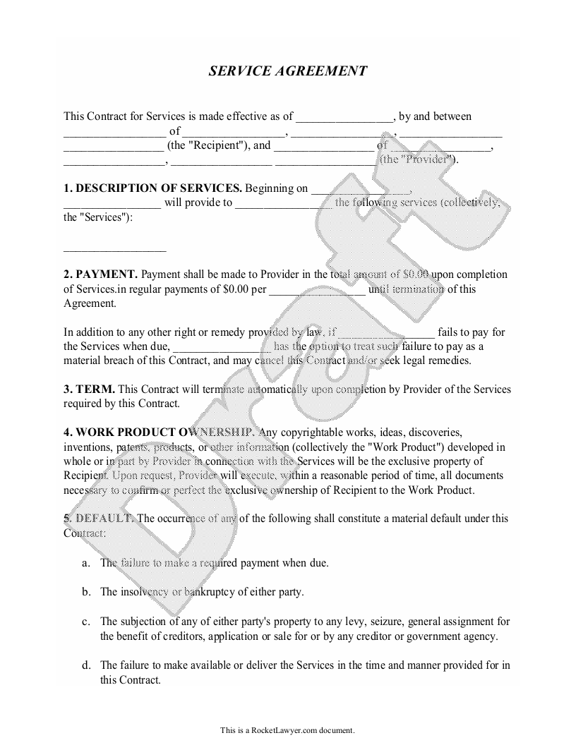 Sample Service Agreement Form Template