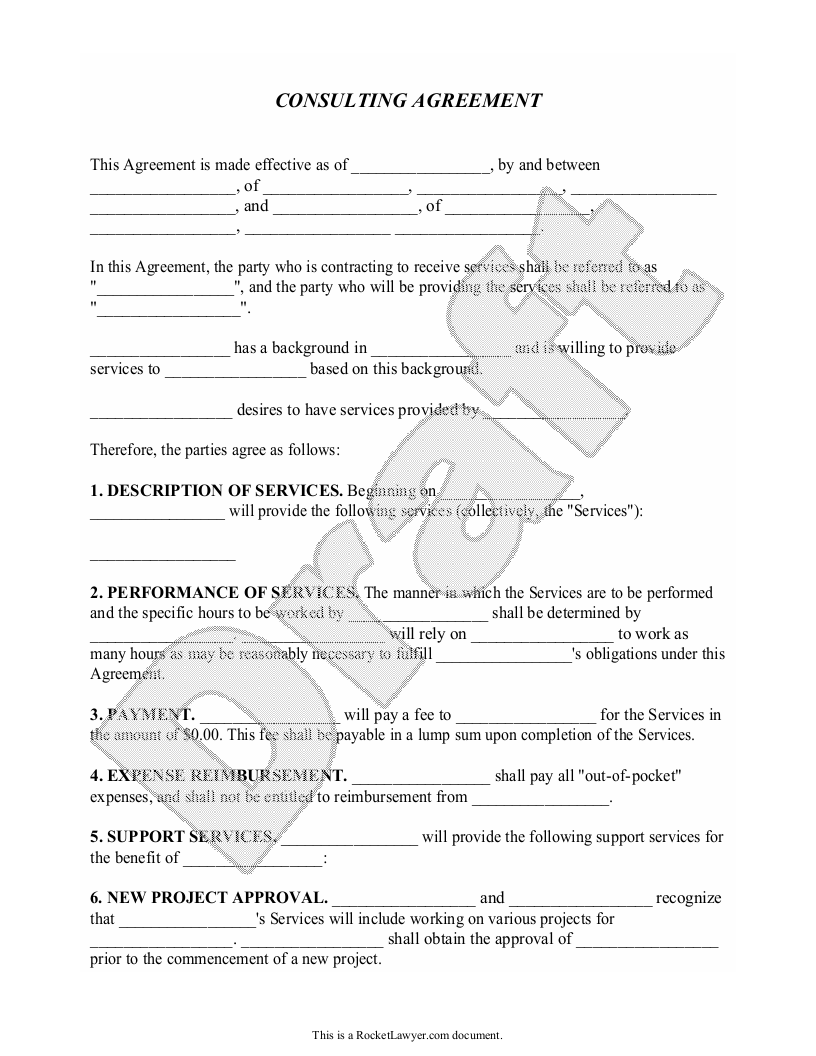 Sample Consulting Agreement Form Template