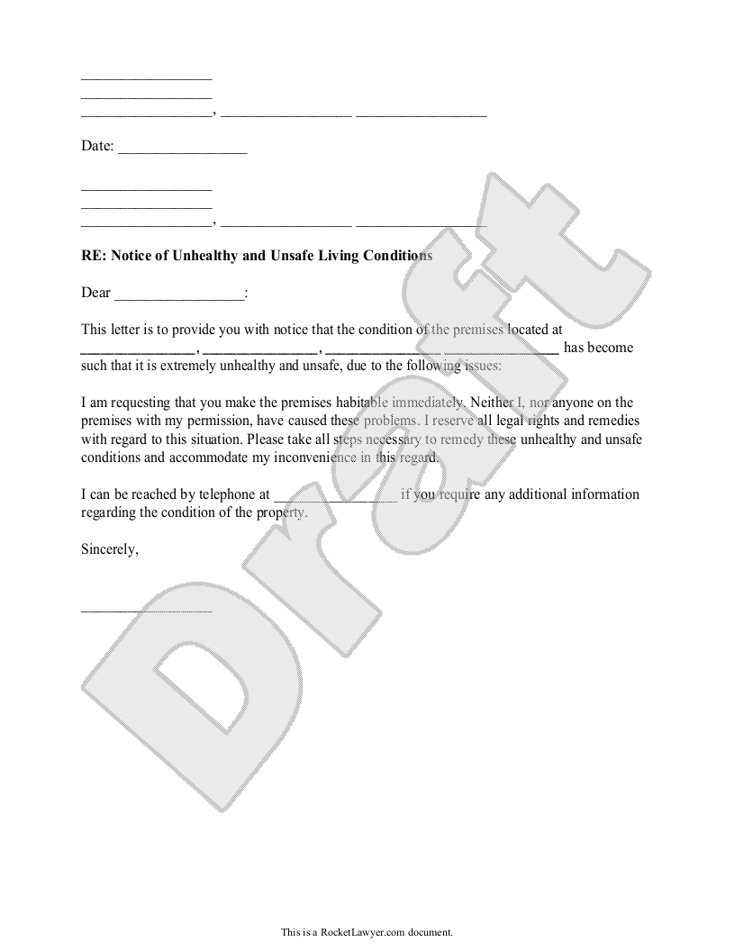 Sample Tenant's Notice of Unhealthy and Unsafe Conditions Form Template