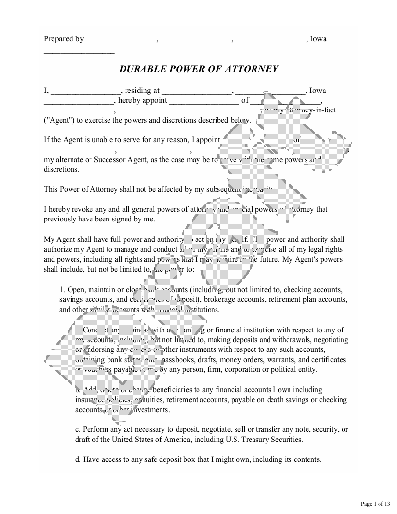 Sample Iowa Power of Attorney Form Template