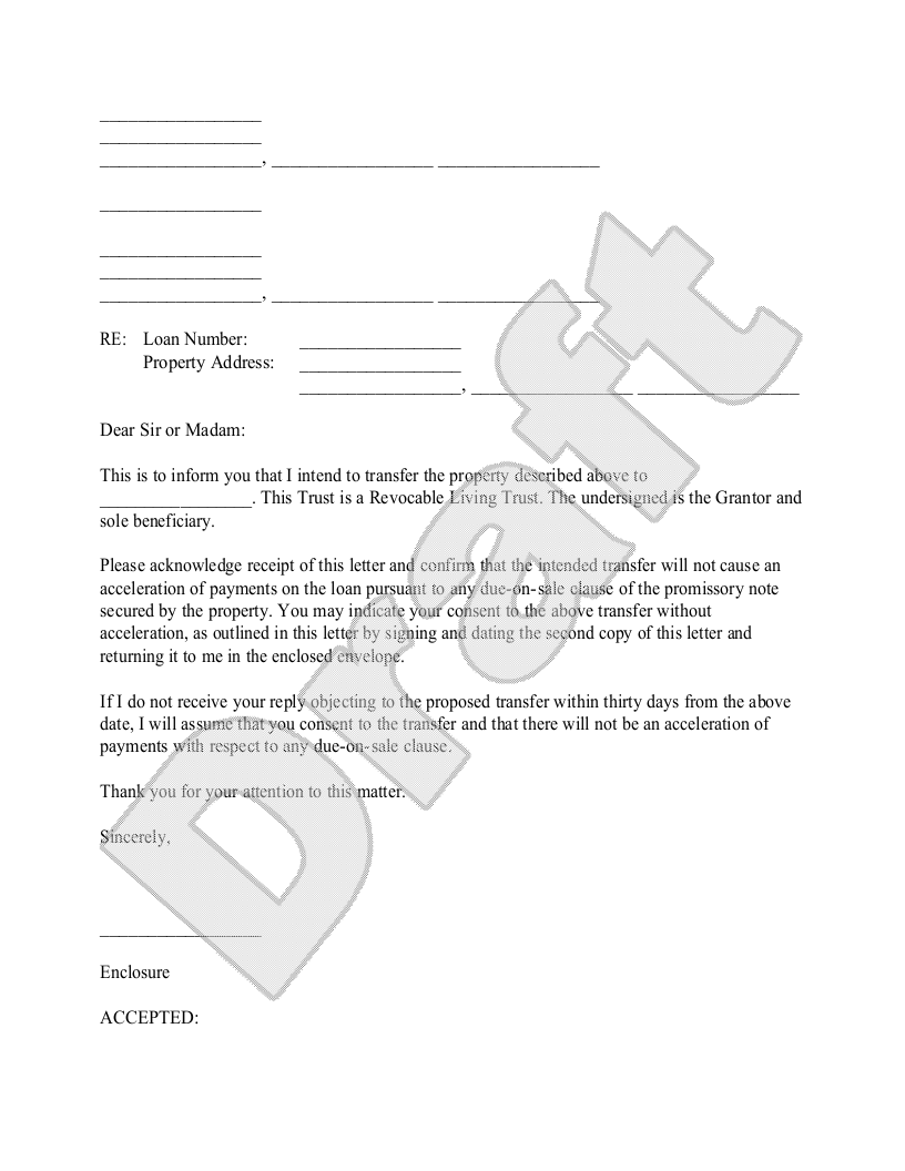 Sample Trust Letter to Mortgage Lender Form Template