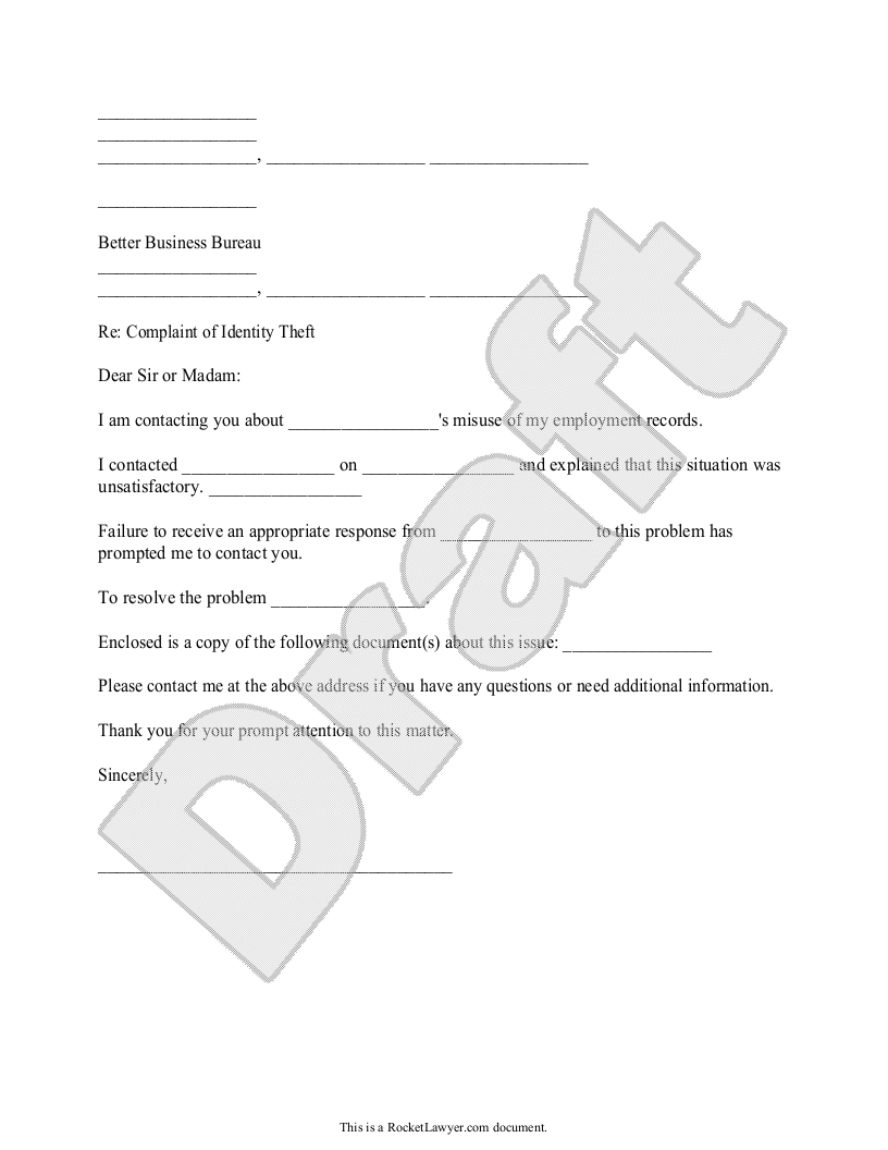 Sample Identity Theft Complaint to the Better Business Bureau Form Template