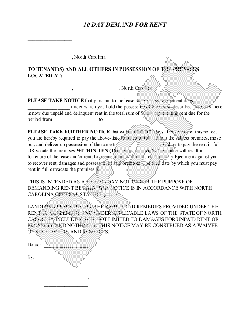 Sample North Carolina Eviction Notice Form Template