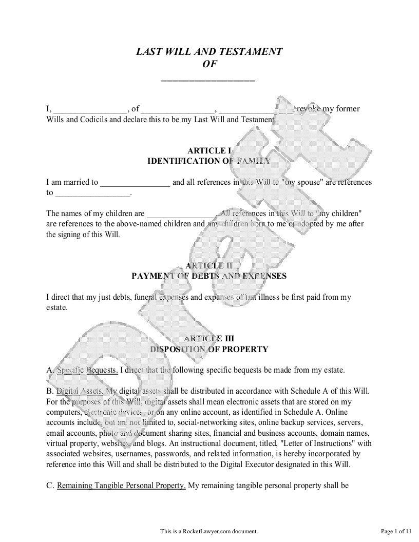 Sample Legal Will Form Template