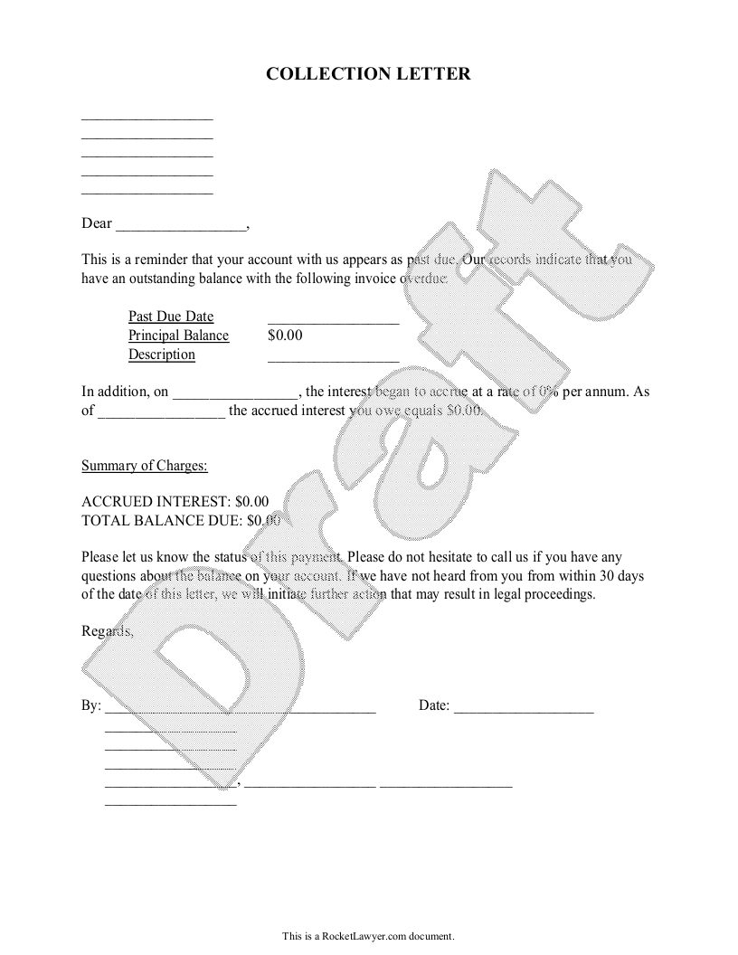Sample Collection Letter Form Template