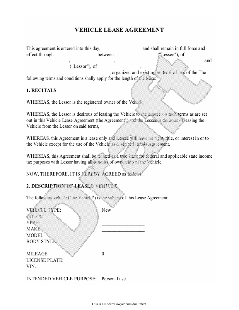 Sample Vehicle Lease Agreement Form Template