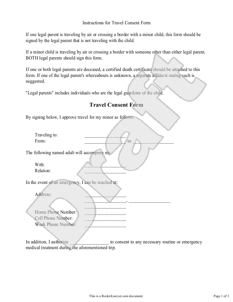 Sample Travel Consent Form Form Template