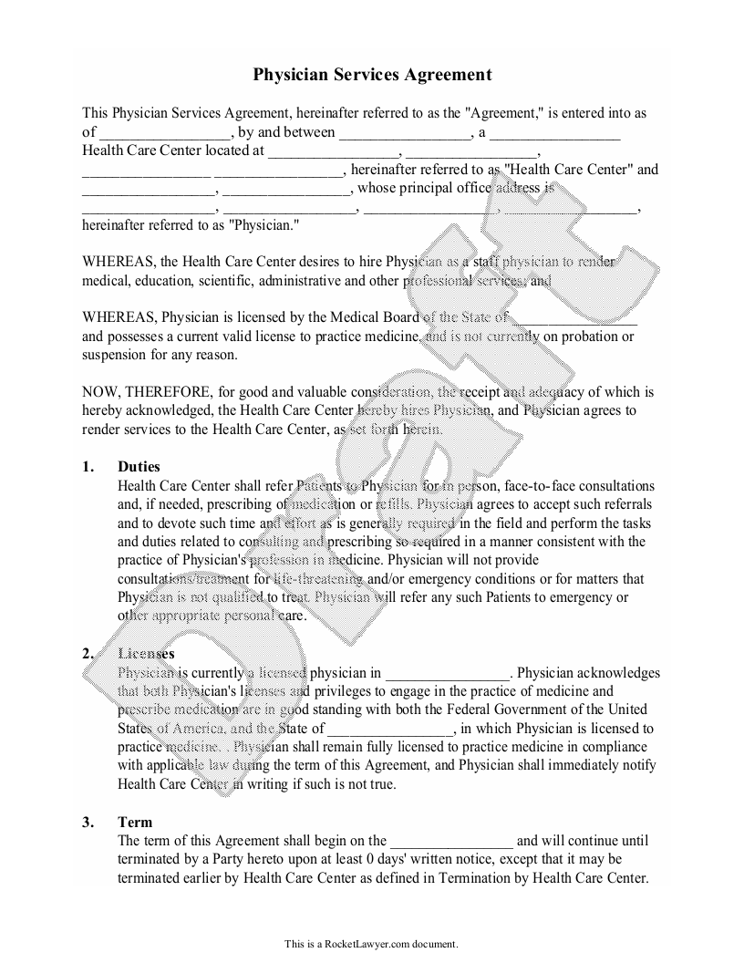 Sample Physician Services Agreement Form Template