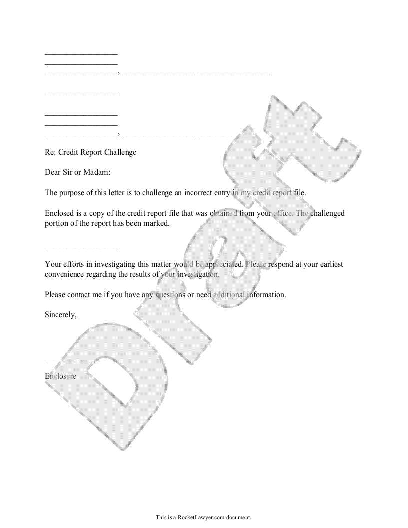 Sample Credit Report Challenge Form Template