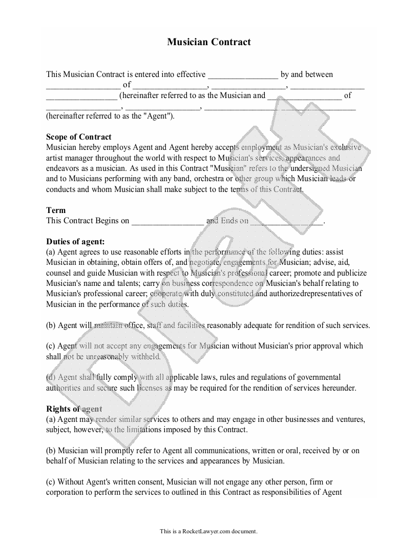 Sample Musician Contract Form