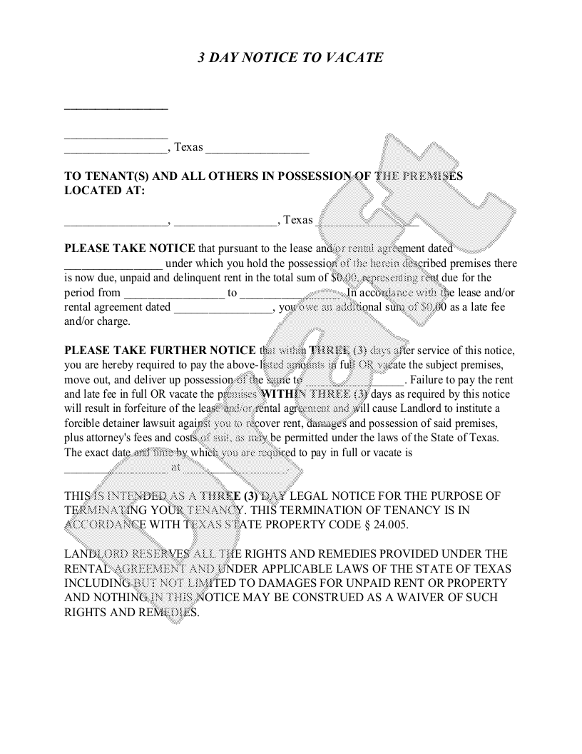 Sample Texas Eviction Notice Form Template