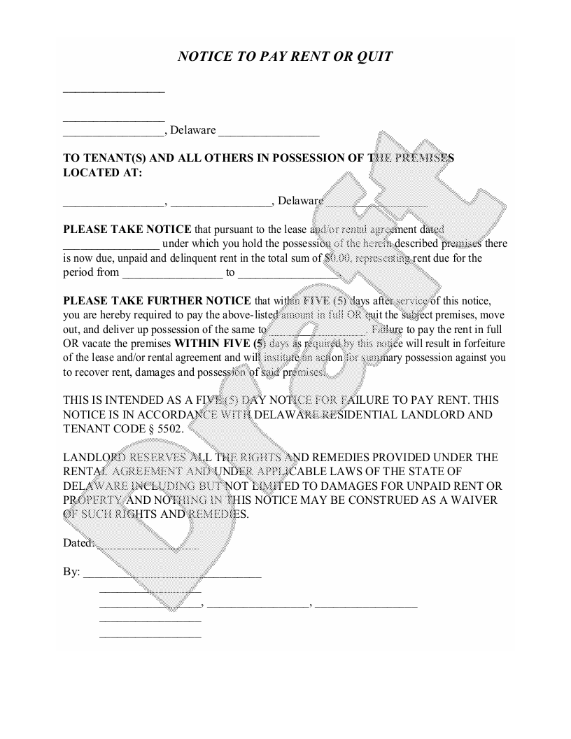Sample Delaware Eviction Notice Form Template
