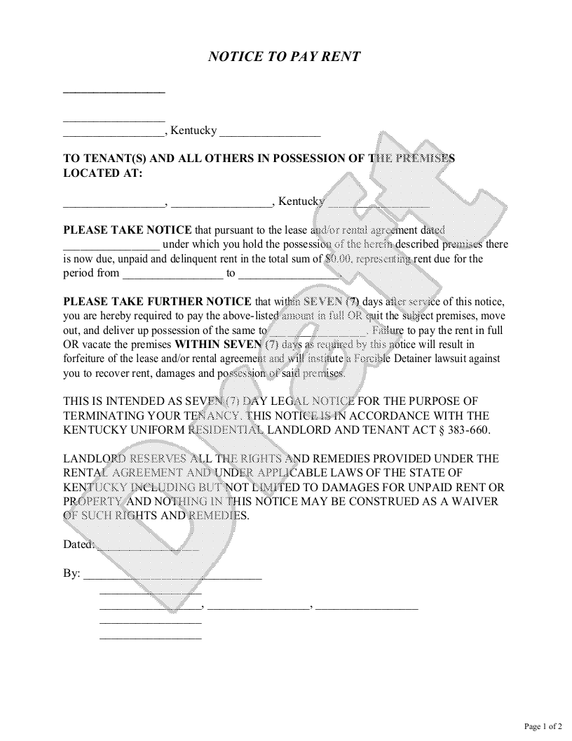 Sample Kentucky Eviction Notice Form Template