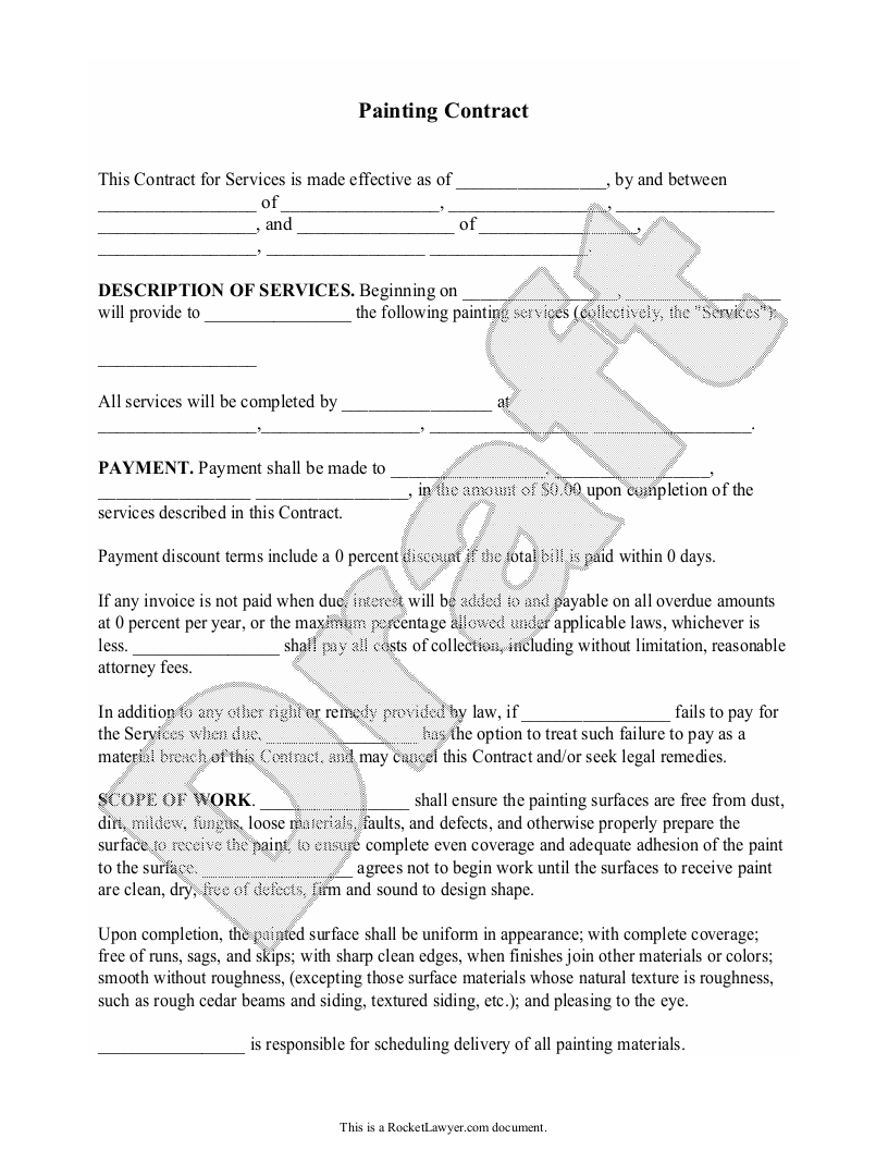 Sample Painting Contract Form Template