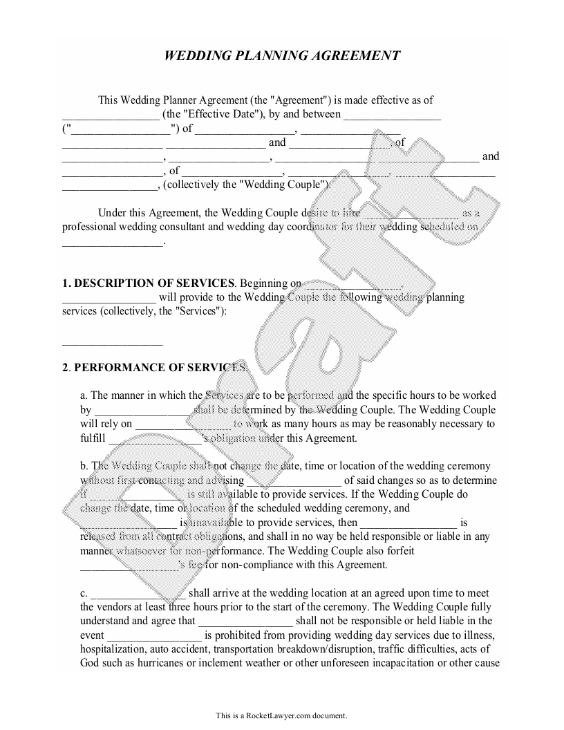 Sample Wedding Planner Agreement Form Template