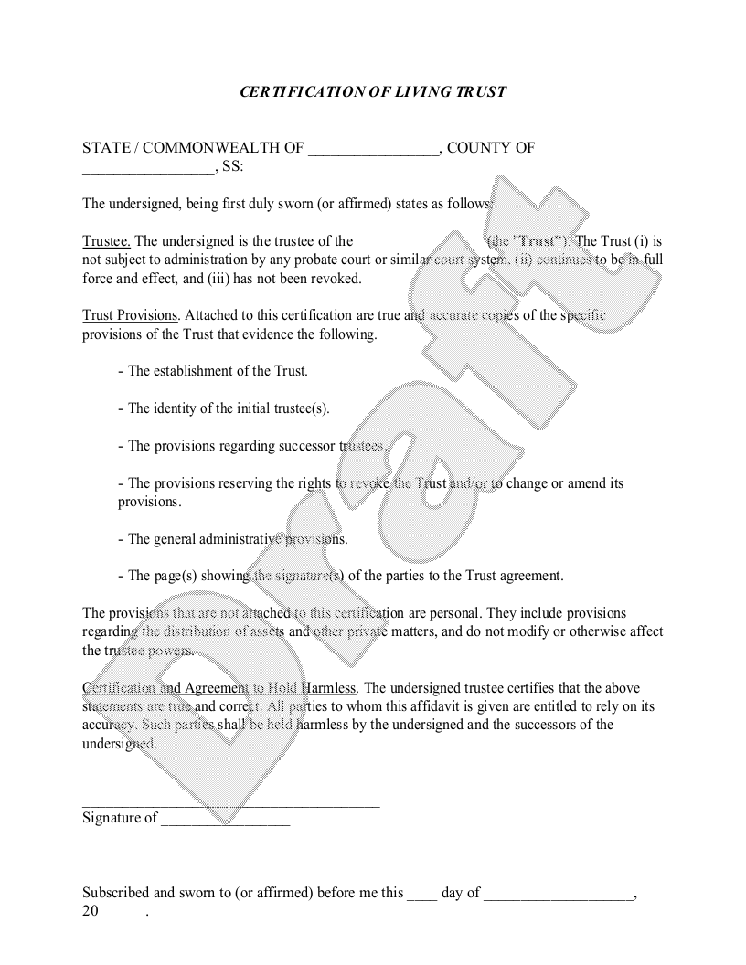 Sample Certification of Living Trust Form Template