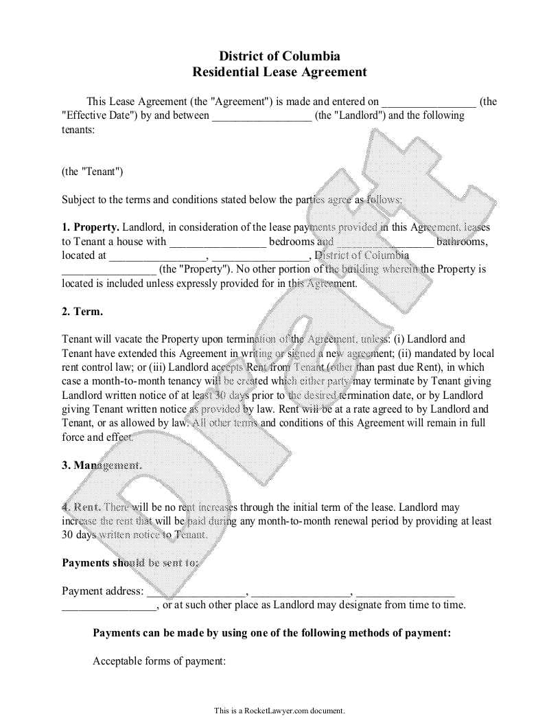 Sample District of Columbia Lease Agreement Form Template